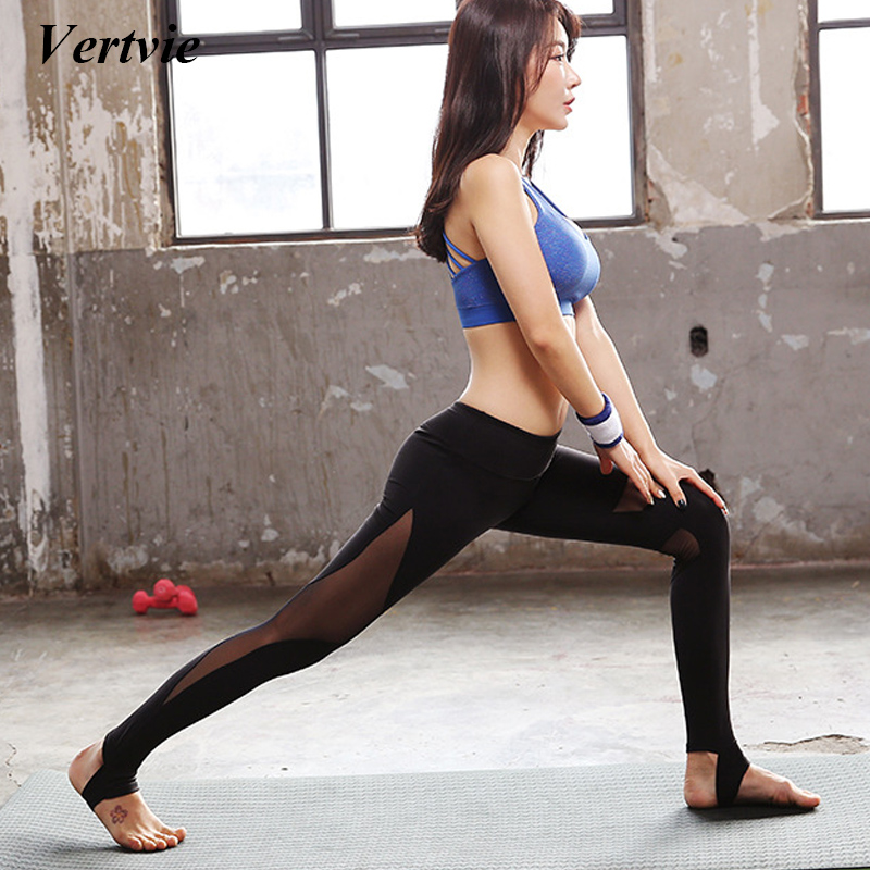 mesh yoga pants vertvie high wasit patchwork black 10780