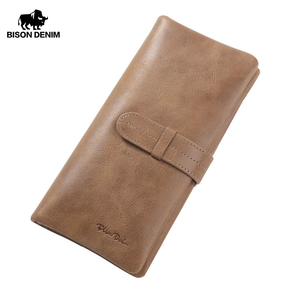 BISON DENIM Genuine Leather Wallet Leather Clutch Bag Vintage Card Wallets Men&Women Money Coin Purse Male Carteira Wallet W4401 men wallet male cowhide genuine leather purse money clutch card holder coin short crazy horse photo fashion 2017 male wallets