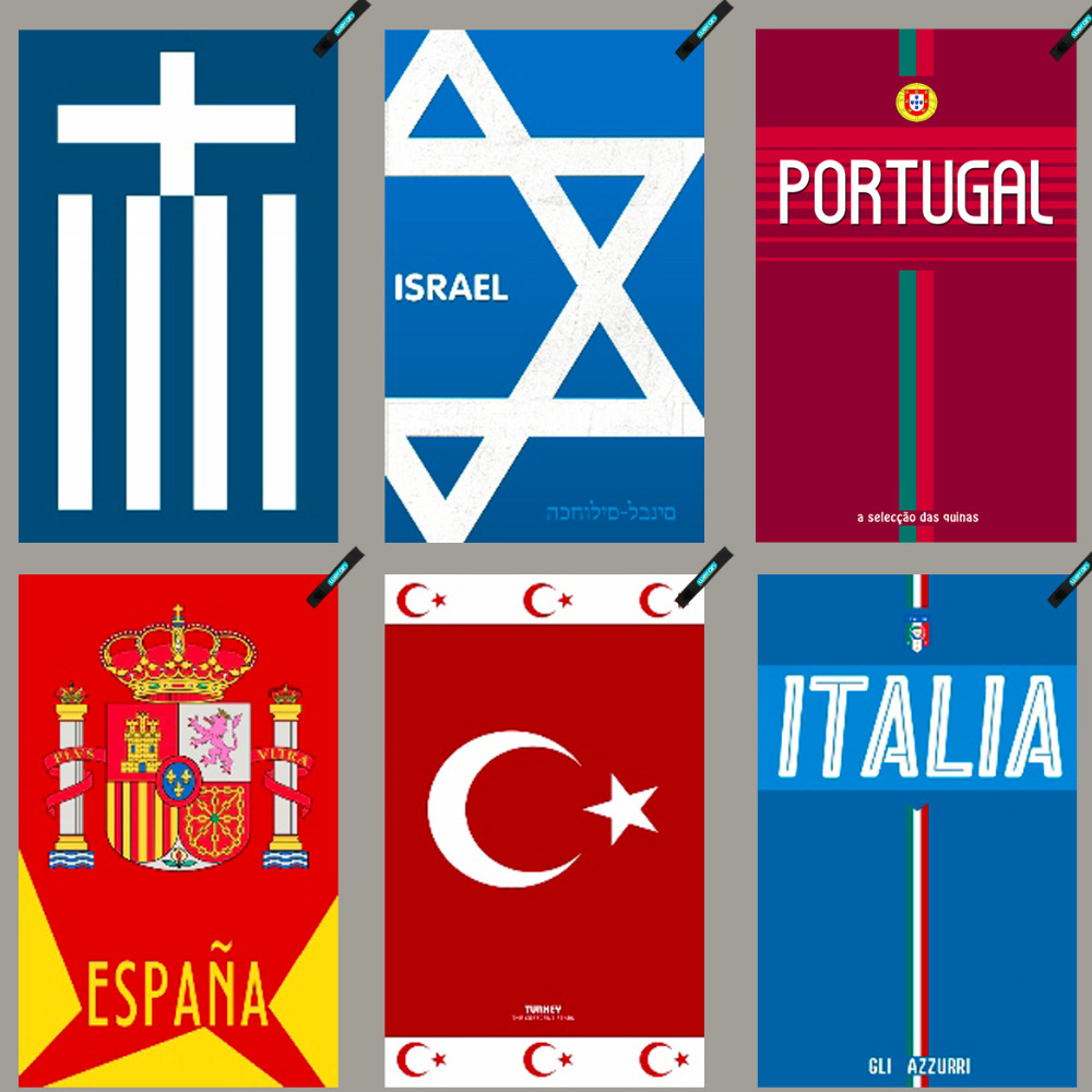 Greece Israel Portugal Spain Turkey Italy National Soccer Fans Towel Facecloth Sports Travelling Outdoor Camping Swim Towel