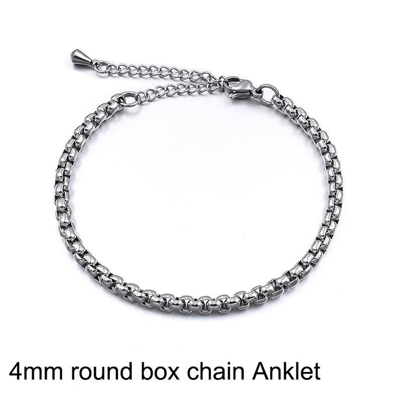 4mm box chain Anklet