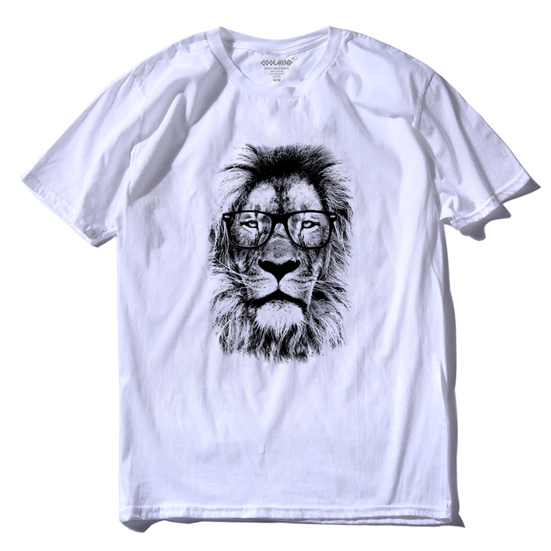 THE COOLMIND 100% cotton street style loose lion print men   T     shirt   casual loose short sleeve o-neck summer   T     shirt   for men tees
