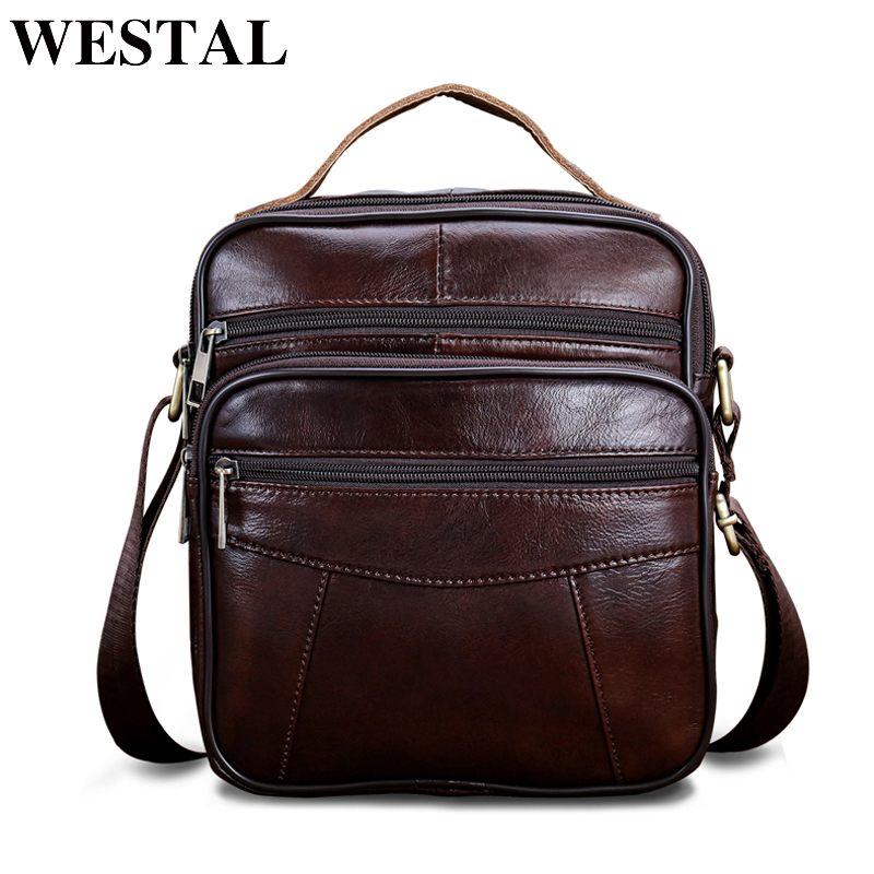 WESTAL Messenger Bag Men Shoulder bag Genuine Leather Small male man Crossbody bags for Messenger men Leather bags Handbag 8318 westal casual messenger bag leather men shoulder crossbody bags for man genuine leather men bag small flap male bags bolsa new
