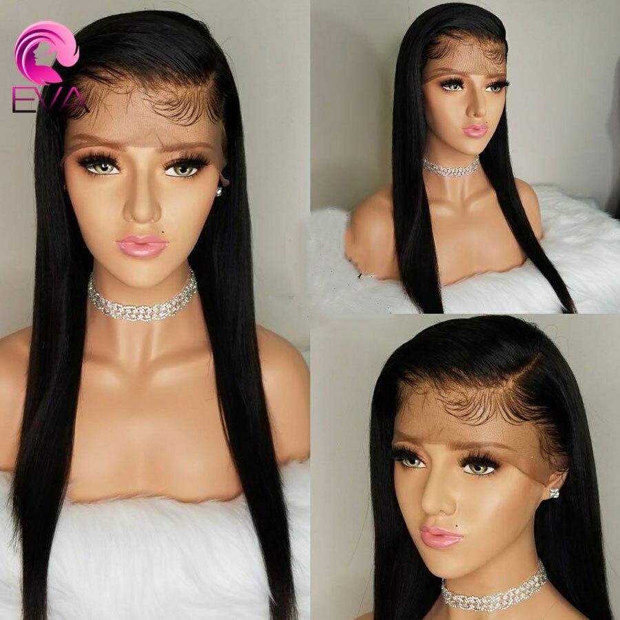 Ева волосы полный шнурок человеческих волос парики предварительно сорвал с ребенком волос бразильского Волосы remy полные парики шнурка для черный Для женщин отбеленные узлы