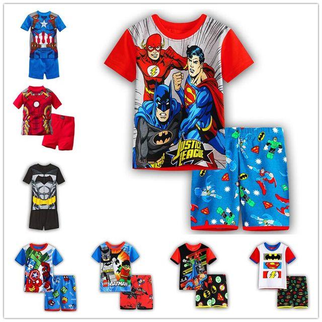 Новое поступление Лето Ночное белье для малышей Бэтмен пижама для мальчиков  Детские пижамы  пижамы с d60c3afa24471