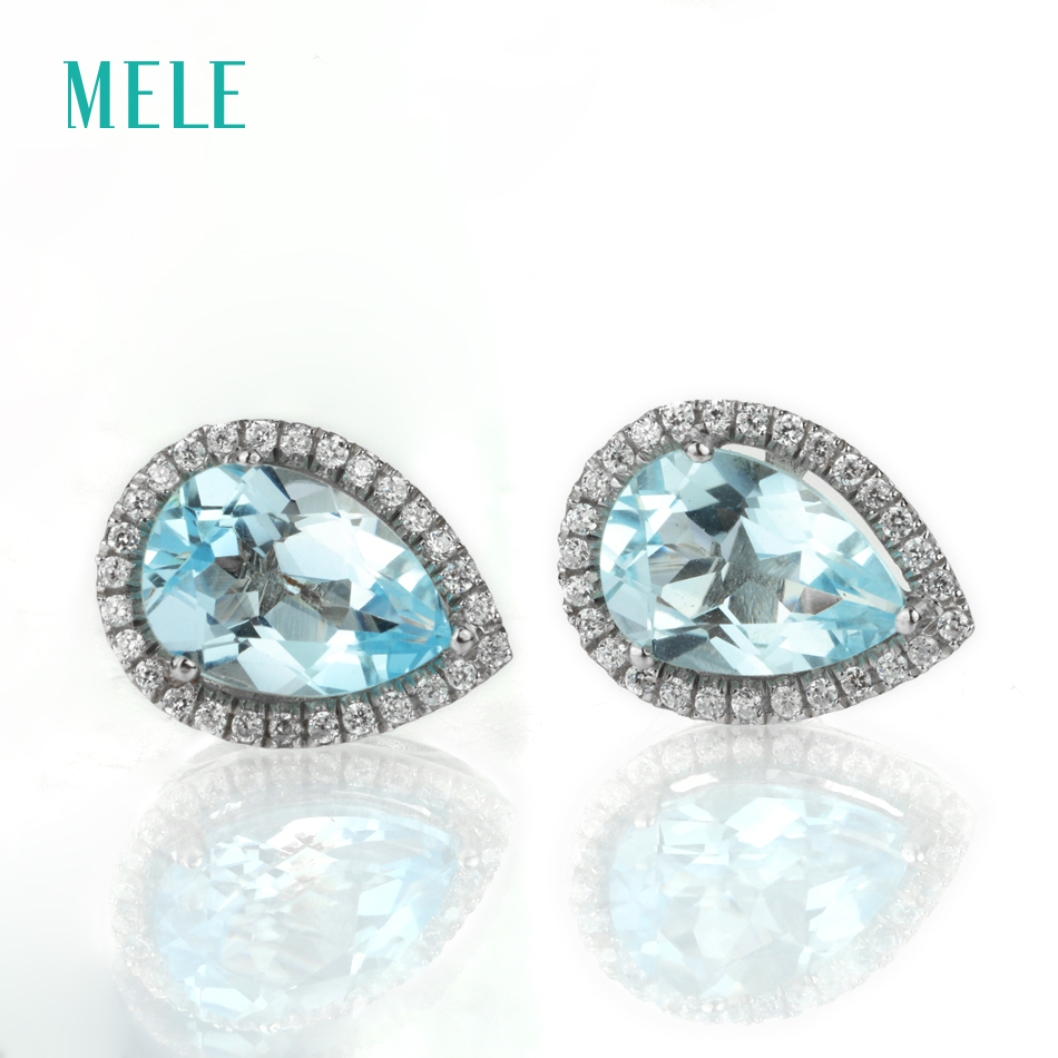Natural blue topaz silver earring, light blue color, pears 7mm*10mm, beautiful and elegant earring for ladies gift