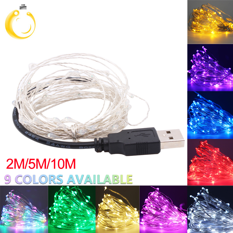 Christmas Lights 5M 10M  Silver Wire LED String Lights Waterproof Holiday Lighting For USB Fairy Light Wedding Party Decoration
