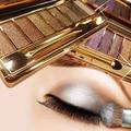 9 Colores de Sombra de Ojos Shimmer Sombra de Ojos Paleta y Pincel de Maquillaje Cosmético Conjunto de Boda Del Coctel Del Partido de Larga Duración 8TT8