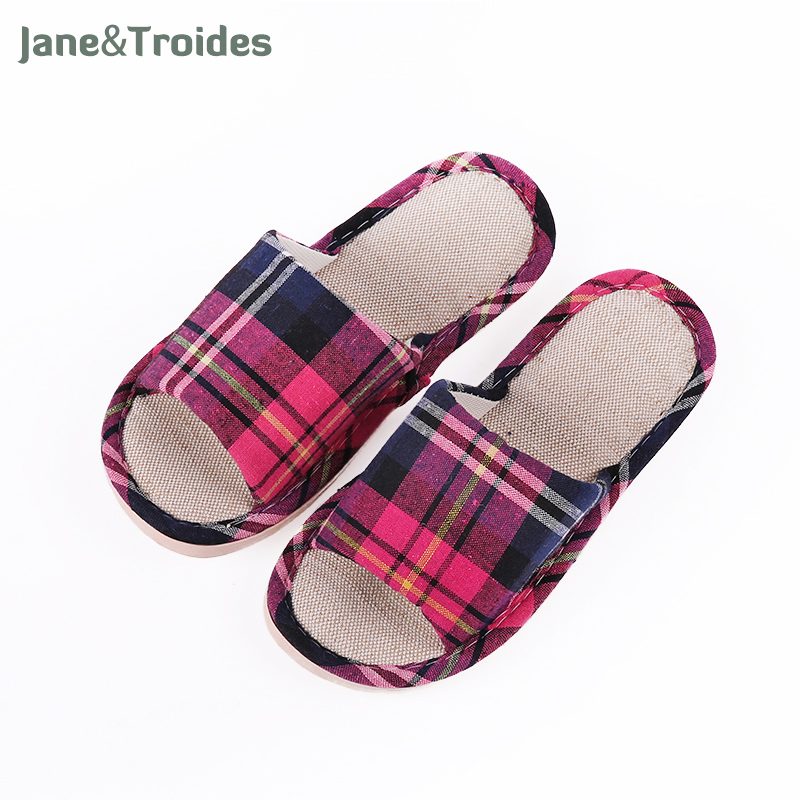 Home Spring Autumn Linen Women Slippers Soft Thicken Plaid Pattern Antisild Flip Flops Badroom Indoor Fashion Woman Shoes plush winter slippers indoor animal emoji furry house home with fur flip flops women fluffy rihanna slides fenty shoes