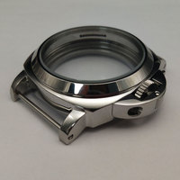 parnis 44mm stainless steel Silver polished case Fit 6497/6498 movement suitable P44 3