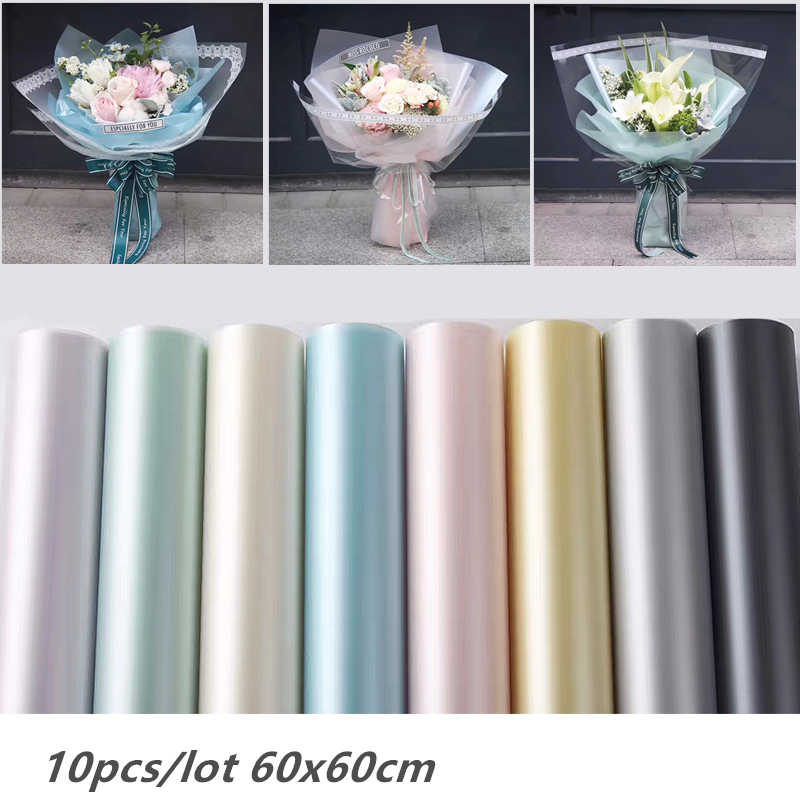 10Pcs 60X60CM Bright Flower Bouquet Packaging Paper Package Florist Supply Gift Wrapping Paper Handmade Material Decor for Home