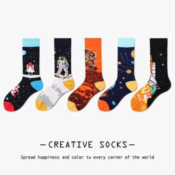 New Arrival Fashion Women's Crew Socks Astronaut Rocket Pattern Funny Happy Hip Hop Cotton Party Socks Novelty Gifts For Female