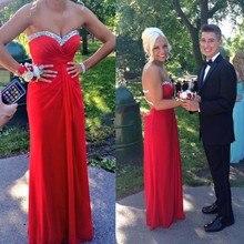 2016 mode A-Line Schatz Red Abendkleid Mit Perlen Und Pailletten Lange Abendkleid Benutzerdefinierte vestido de festa gala jurken