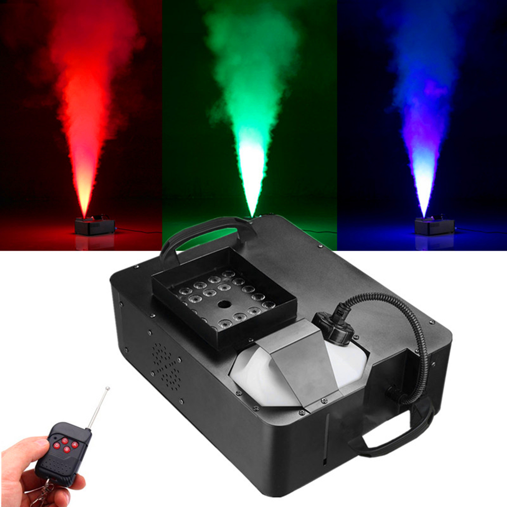 Wireless Remote +DMX512 Control 1500W LED Fog Machine With 24X9W RGB 3in1 LED Lights, DJ Bar 1500W Vertical Fogger Smoke Machine