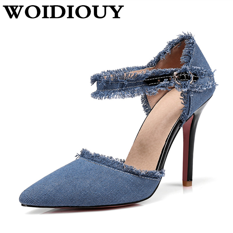 Women High-heeled Sandals Female Denim High Heels New Summer Fringed Tassels Pointed Toe Stiletto Party Pumps women 's Shoes wholesale lttl new spring summer high heels shoes stiletto heel flock pointed toe sandals fashion ankle straps women party shoes