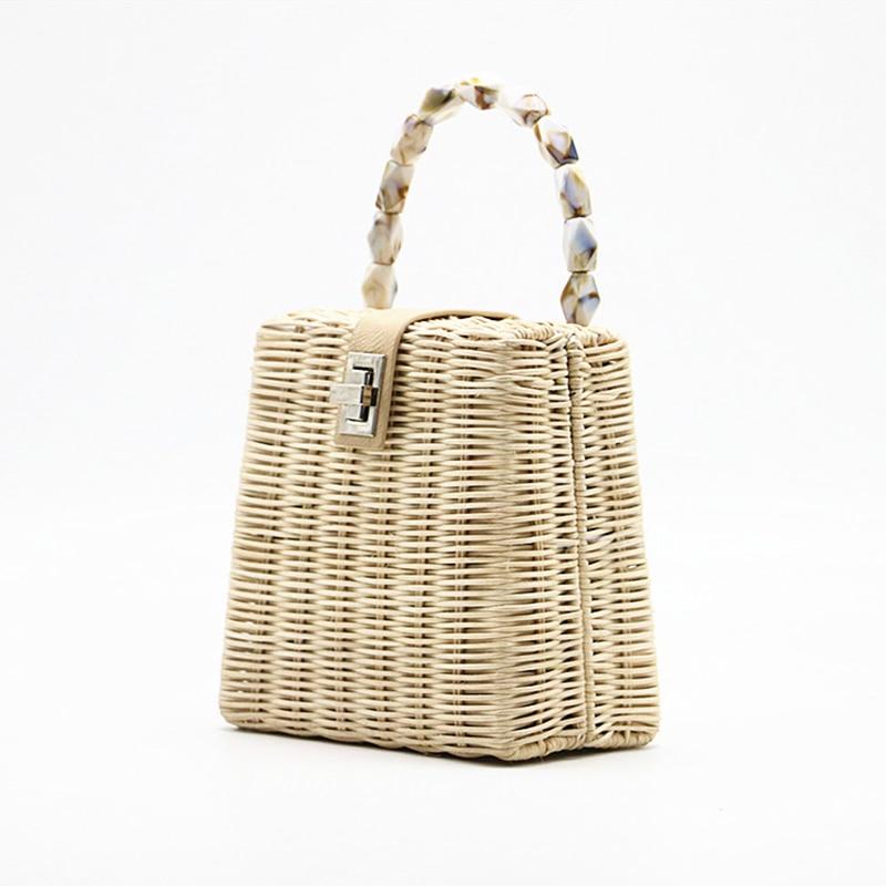 2019 petite boîte perles noir blanc sac de paille portable en bandoulière à la main femme sac de plage-in Sacs à bandoulière from Baggages et sacs    3
