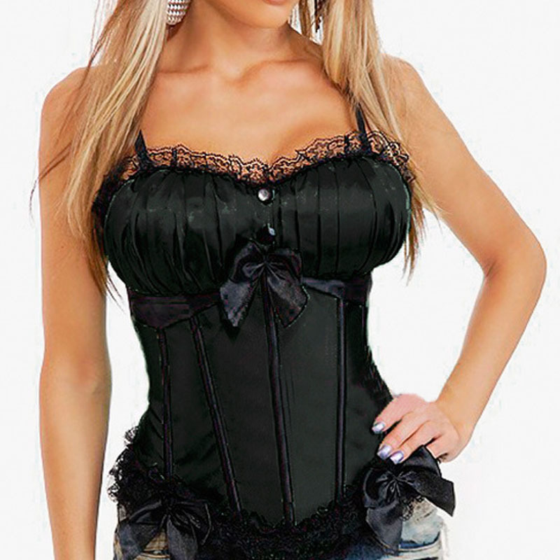 Women's Boned Bridal   Corset   Tops With Strap Ruffled Edge Sexy Lace Up Overbust   Corsets   And   Bustiers