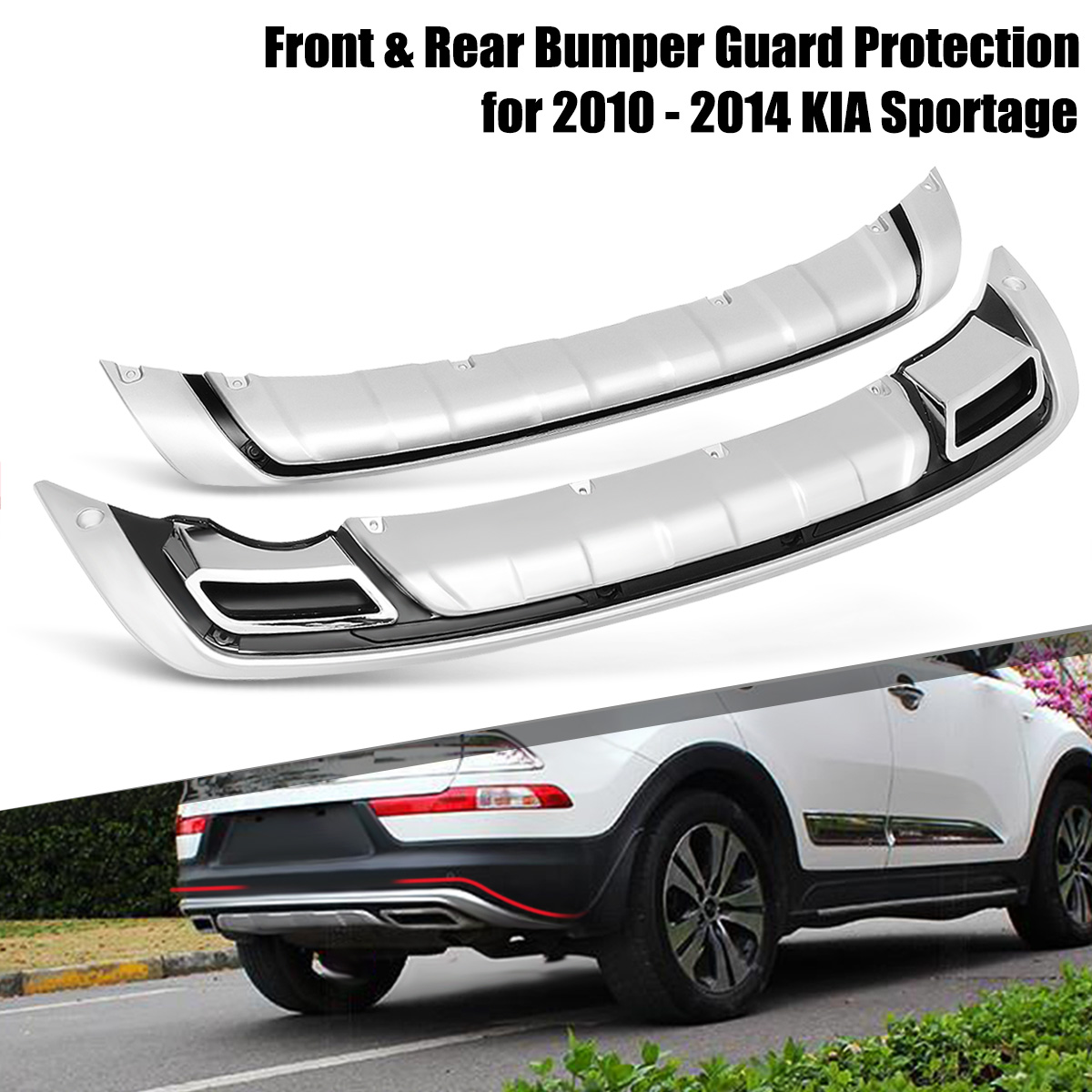 Car Front and Rear Bumper Guard Board Protection for KIA Sportage 2010-2014 Car Styling Exterior Accessories decoration protective guard rubber bar for car front and rear bumper black 2 pcs