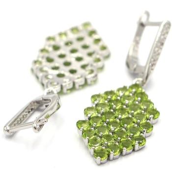 1a4cf4f84be9 LAMOON 6mm 2.2ct cojín peridoto Natural de la joyería de la plata esterlina  925 Simple pendientes S925 para las mujeres LMEI004