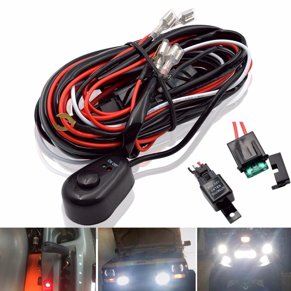 car led light bar wire 2 5m 12v 24v 40a wiring harness relay loom cable kit fuse for auto driving offroad led work lamp in wire from automobiles  [ 1000 x 1000 Pixel ]