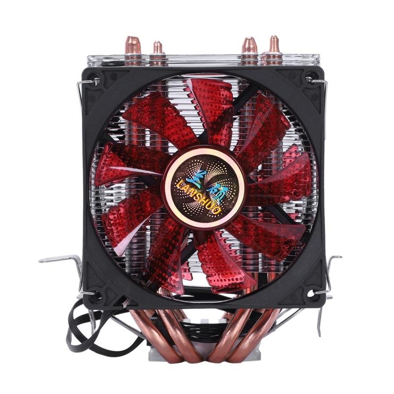 LANSHUO 4 Heat Pipe 4 Wire With Light Double Fan Cpu Fan Radiator Cooler Heat Sink For Intel Lga 1155/1156/1366 Cooler Heat Si|  - title=