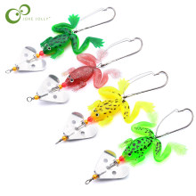 4pcs/LOT Frogs Fishing Lure Set Rubber Soft Fishing Lures Bass Spinner Bait Spoon Lures Carp fishing tackle 6g/9cm GYH(China)