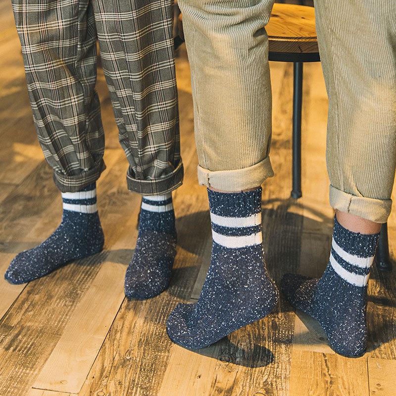 Mantieqingway Unisex Striped Socks for Mens Business Cotton Socks Winter Autumn Warm Women Long Tube Socks for Wedding Dress