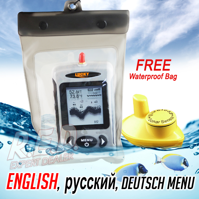 FFW-718 LUCKY Wireless Fish Finder English Version Live-Update 120M Operational Range  40M Depth  Fish Icon Fish Alarm