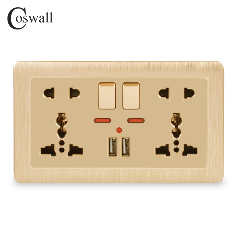 Coswall Wall Power Socket Double Universal 5 Hole Switched Outlet 2.1A Dual USB Charger Port LED Indicator 146mm*86mm Gold