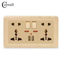 Coswall Wall Power Socket Double Universal 5 Hole Switched Outlet 2.1A Dual USB Charger Port LED indicator 146mm*86mm Gold()