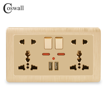 Coswall Wall Power Socket Double Universal 5 Hole Switched Outlet 2.1A Dual USB Charger Port LED indicator 146mm*86mm Gold - discount item  42% OFF Electrical Equipment & Supplies