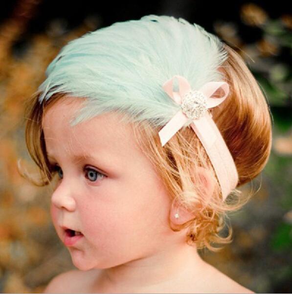 1 Pcs Lytwtw's headwrap photography baby girls hair hairband head band infant Toddler Gift newborn Feather headbands   headwear