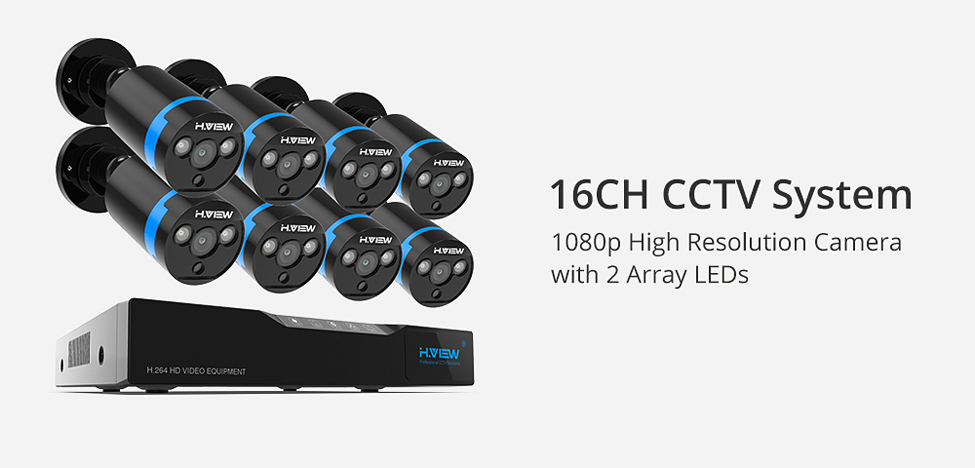 H.View 16CH Surveillance System 8 1080P Outdoor Security Camera 16CH CCTV DVR Kit Video Surveillance iPhone Android Remote View (8)