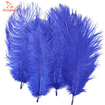 CHENGBRIGHT Cheap 500Pcs/Lot Natural Royal Blue Ostrich Feathers Hard Rod 15-70CM Hotel Party Wedding Decorations Jewelry Plumes