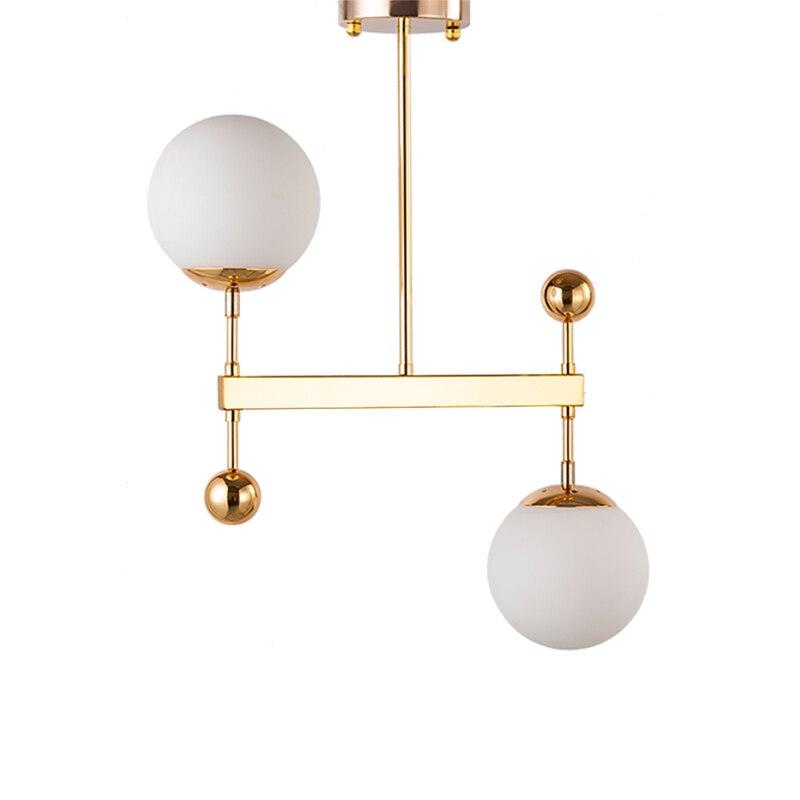 Nordic 2 heads pendant lights modern simple Milky white glass shade for foyer restaurant bedroom lighting gold black droplight