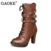 GAOKE Ladies Shoes Women Boots High Heels Platform Buckle Zipper Rivets Sapatos Femininos Lace Up Leather