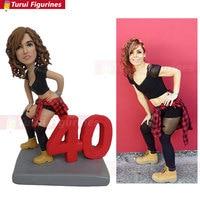girl's 40th birthday souvenir present gift for wedding anniversary figurine mini statue handmade design by Turui Figurines dolls