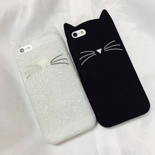 Innovation Animal Phone Case For iphone 7 Cute 3D Mustache Cat Silicone Coque Cover For iphone7 Pink White Black Lovely Capa funny mustache style protective plastic back case for iphone 5 dark blue white black
