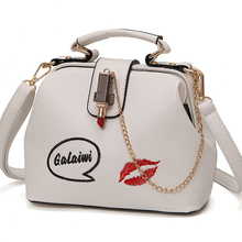 Women Handbag Leather Women Shoulder Bag Small Doctor Crossbody Handbag Embroideried Lipstick Chain Designer Casual Women Bags