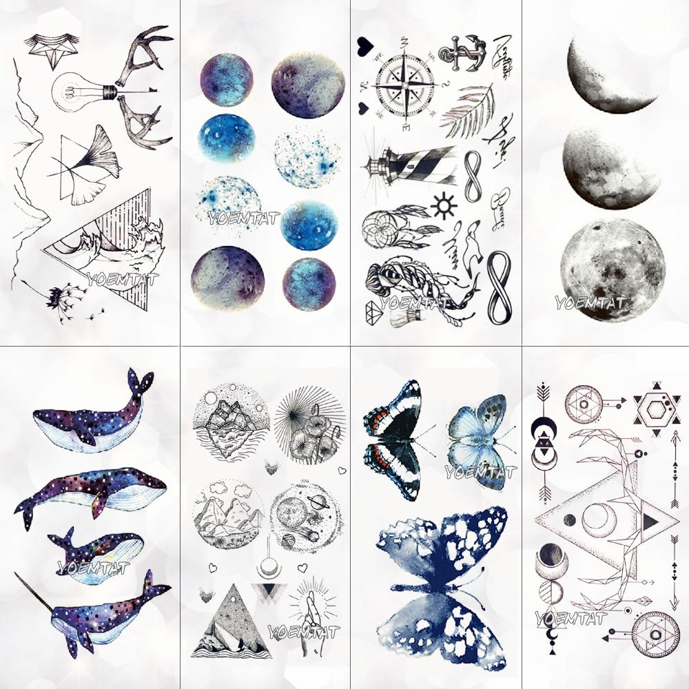 Geometric Planet Temporary Tattoo For Children Girl Moon Forest Waterproof Fake Black Tattoo Stickers Kids Women Ear Tatoos
