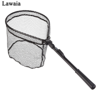 Lawaia Fold Fly Fishing Net Glued Aluminum Alloy Hand Net Fishing Pole Telescopic Nylon Carp Fishing Landing Nets Fishing Gear