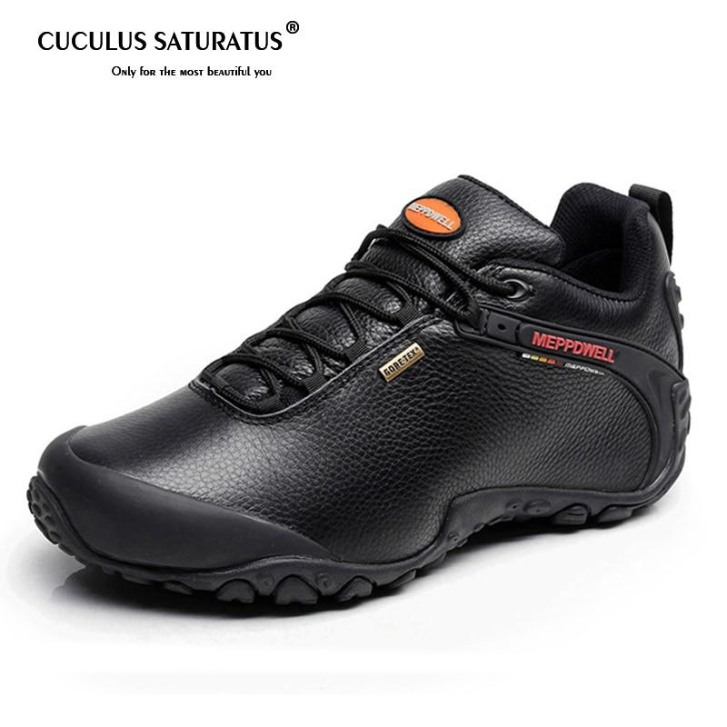 Haute qualité unisexe chaussures de randonnée automne hiver en cuir véritable en plein air hommes femmes Sport Trekking montagne chaussures de Sport 224-5