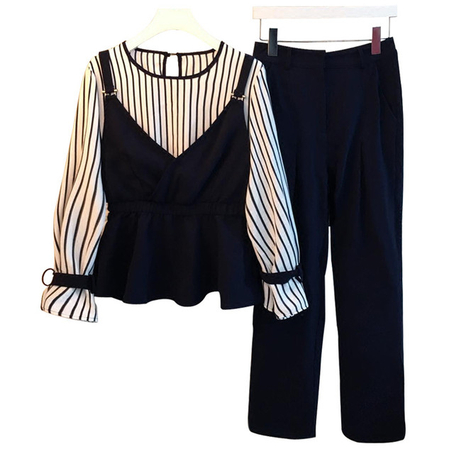 Spring Large Size Women's Clothing 2 Piece Sets Fashion New women's Striped fake two straps tops+Casual Pants Females Two suits