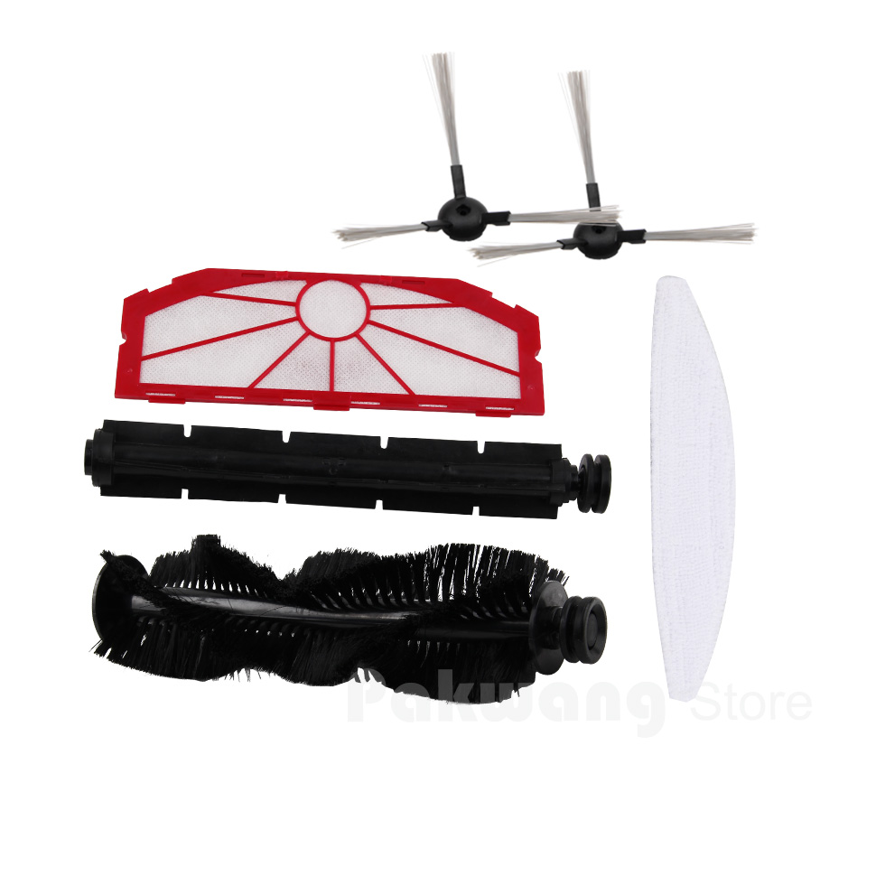 XR510 Robot Vacuum Cleaner Parts and Accessories : Hair brush Rubber brush Mop Filter 1 pc separately and Side brush 2 pcs