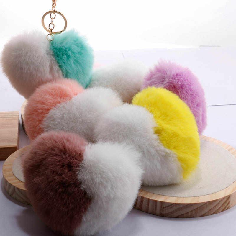 Amo As Mulheres de Correspondência de cores Saco Chaveiro Chaveiro Coração Imitação Coelho Cabelo Bola Pompom Acessórios Pingente Car Chaveiro N15