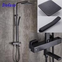 Dofaso thermostatic shower faucet vintage bathroom square black shower set