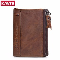 KAVIS Genuine Cowhide Leather Men Wallet Top Quality Male Short Coin Purse Double Zipper Men Purse