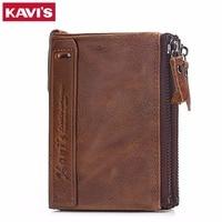 KAVIS Genuine Cowhide Leather Men Wallet Top Quality Male Short Coin Purse Double Zipper Men Purse