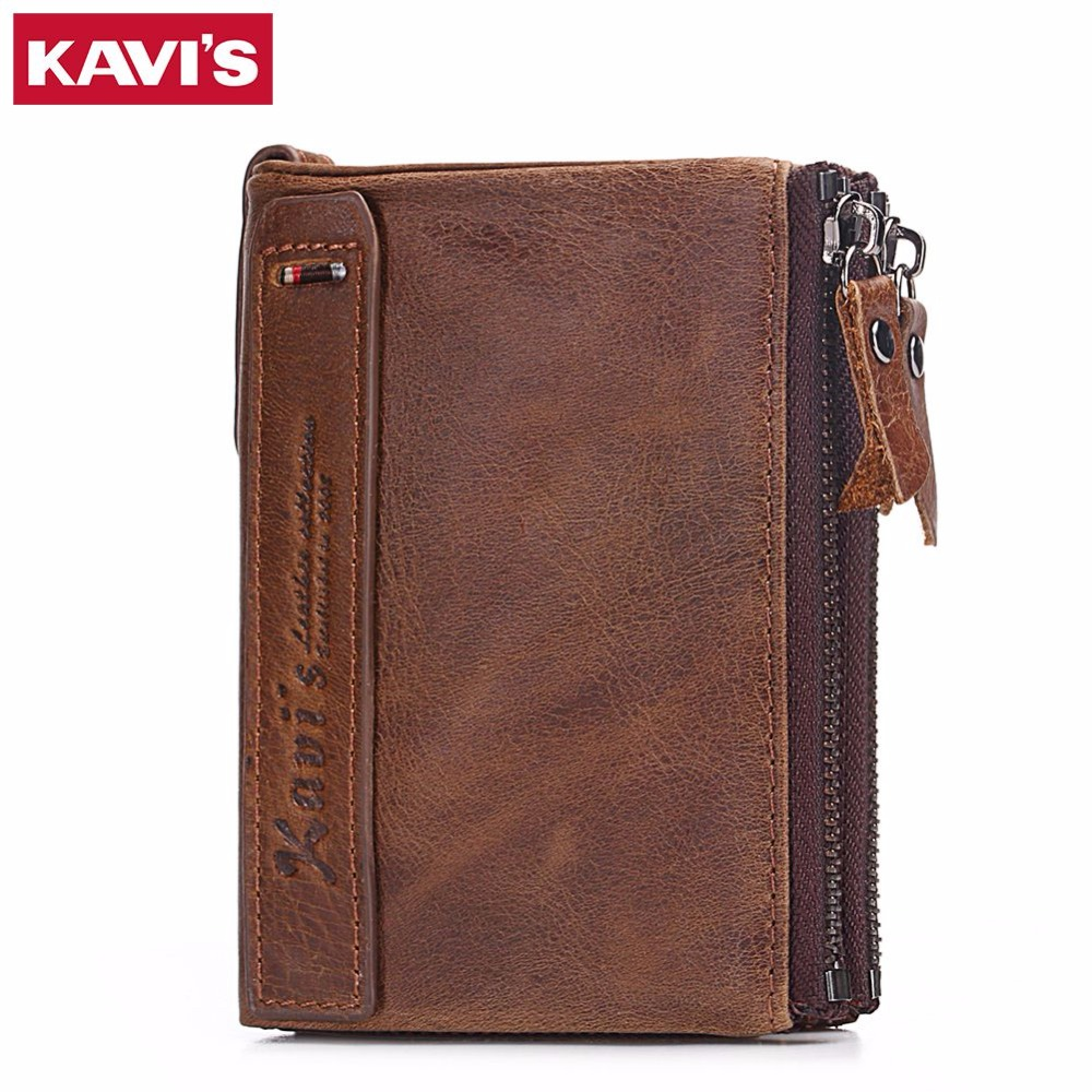 KAVIS Genuine Cowhide Leather Men Wallet Male Cuzdan walet Coin Purse Double Zipper Men Purse Luxury Brand Small and Perse Mini