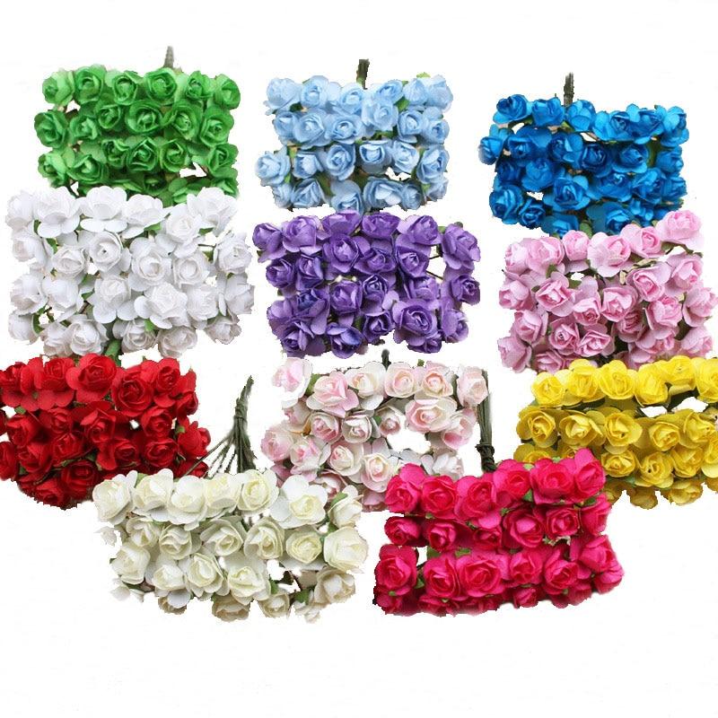 APRICOT 12pcs/bundle 1cm Head Multicolor Artificial Paper Flowers Rose for Decorative Gift Wedding box Decoration