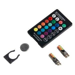 Image 4 - Universale T10 Led RGB W5W 194 Liquidazione Lampada per Auto RGB COB Colorful Multi Modalità Auto Luce Laterale Lampadine con il Regolatore A Distanza